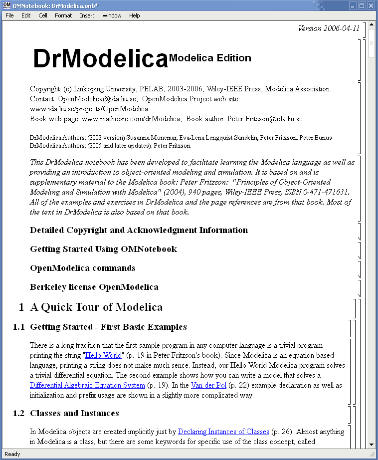 OMNotebook with DrModelica and DrControl — OpenModelica User's Guide
